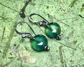 Aqua - Fluorite and Sterling Silver Earrings