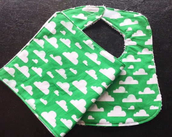 Baby Bib and Burp Cloth Set, Clouds Baby Bib Set, Newborn Baby Gift, Baby Boy Bib, Baby Shower Gift