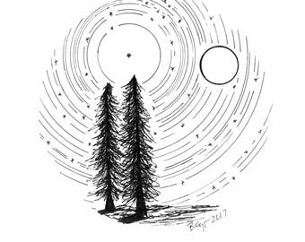 Star trails - Tree Buddies with Full Moon - Giclee Print