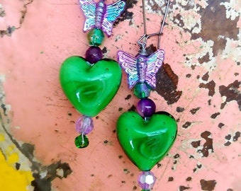 All Heart Earrings, Butterfly, Green, Purple, Beaded Earrings, Pretty, Glass hearts, Boho, Romantic