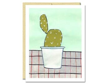 Cactus Houseplant Notecard // Single Card // Everyday Card // Blank Notecard // Cute Card // NW Artist // Rachel Austin Card