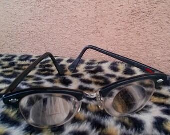 Vintage 1950s Glasses 50s Browline Cat Eye Nerd Glasses Art Craft Gray