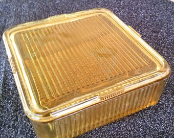 Vintage 1940s Refrigerator Dish 40s Amber Federal Glass Square 2014427