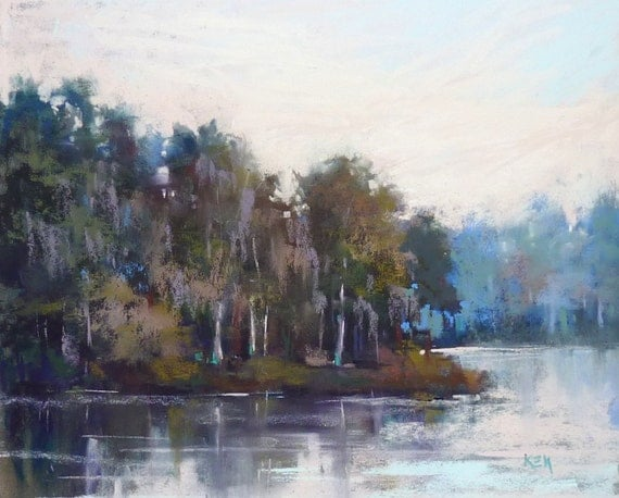 Florida painting Wetlands Lake ART Original Pastel Painting 8x10
