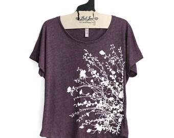 SALE Small-  Tri-Blend Vintage Purple Dolman Top with Flower Branch Screen Print
