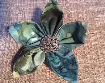 Blue Green Watercolor Fabric Flower Brooch Pin