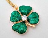 Shamrock Vintage Pendant Necklace - St Patty's Patrick's Day Shamrock Pendant Necklace Jewelry Gift