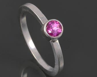 Pink Tourmaline Stacking Ring. Sterling Silver. October Birthstone. Genuine Gemstone. Ready to Ship. Size 4. s17r006