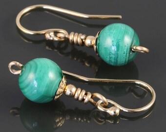 Malachite Earrings. Gold Filled Ear Wires. Small Drop Earrings. Genuine Gemstone. s17e067