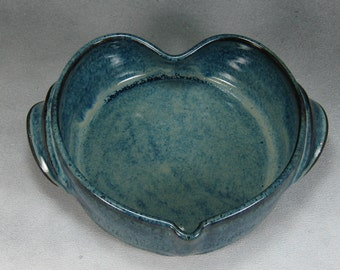 Blue Small Heart Shaped Casserole Hand Thrown Stoneware Pottery A