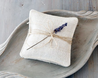 Pair of Ivory Grain Sack Lavender Sachets, French Country Rustic Cottage Decor