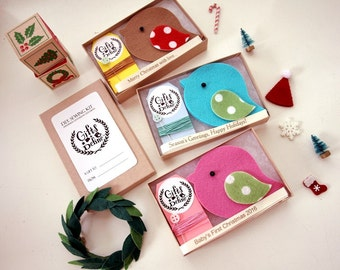 DIY Make Your Own Holiday Greeting Bird Sewing Kit, Stocking Stuffer, Christmas Tree Ornament, Family Gift, Baby First Christmas Keepsake