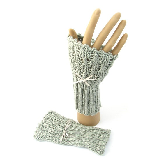 Pure silk handwarmers, lacy handknit cuffs beaded wristwarmers, silver grey knitted cuffs, natural fiber wedding gloves, made in UK