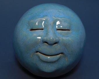 Man-in-the-Moon Garden head, Glossy Robins Egg Blue