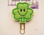 Smiley Shamrock St Patricks Day Planner Clip, Bookmark, Planner Accessory, Paper Clip