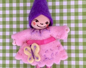 Butterfly Pixie Art Doll Brooch