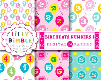 40% off Birthday Party Numbers digital paper, one, two, three, four, five, scrapbook, balloons, Instant Download