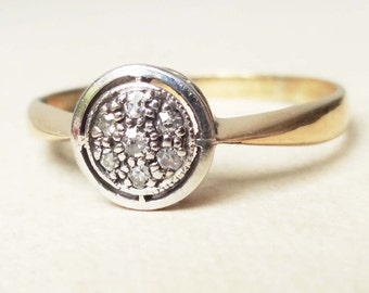 Art Deco Geometric Ring, Vintage 18k Gold and Diamond Engagement Ring, Approx Size 7.5