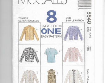 McCall's Misses' Unlined Jacket and Top Pattern 8540