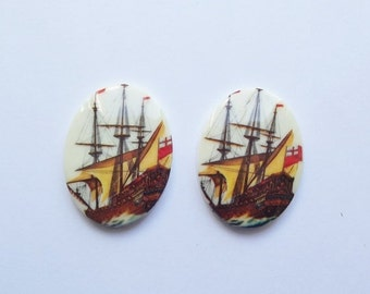 50% OFF Vintage nautical ship cabochons