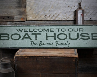 Boat House Sign, Wooden Boat Sign, Boat House, Boat House Decor, Custom Lake Decor, Lake - Rustic Hand Made Vintage Wooden Sign ENS1001795