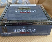 Henry Clay Gray Stalk Cut Silver Wooden Cigar Box for Crazy Quilting or Multi Media Short Story Beautiful Crafts