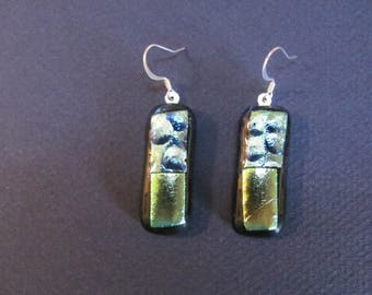 Fused Blue Textured and Gold dichroic glass on clear glass earrings