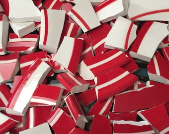 Mosaic Tiles Mix Broken Plate Art Hand Cut Pieces Supply Red White Pottery Tiles 100