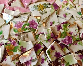 Mosaic Tiles Tesserae Broken Plates DIshes Art Supply Crafts Hand Cut Purple Pink Voilets Antique Flowers 100