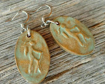 Clay Hiker Girl Earrings