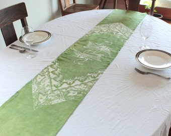 organic hemp table runner basil green birds