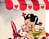 Vintage 1940's Sweet Little Girl with Pigtails and Kitten Valentine Greetings Card (B17)