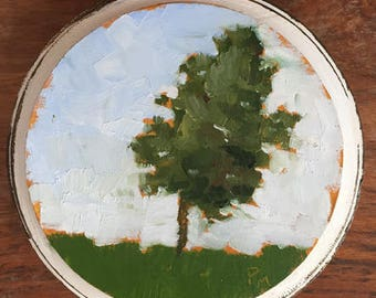 tree painting small landscape original oil painting on wood mothers day gift