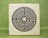 Labyrinth Spiral Chartres Cathedral Style Rubber Stamp # 485