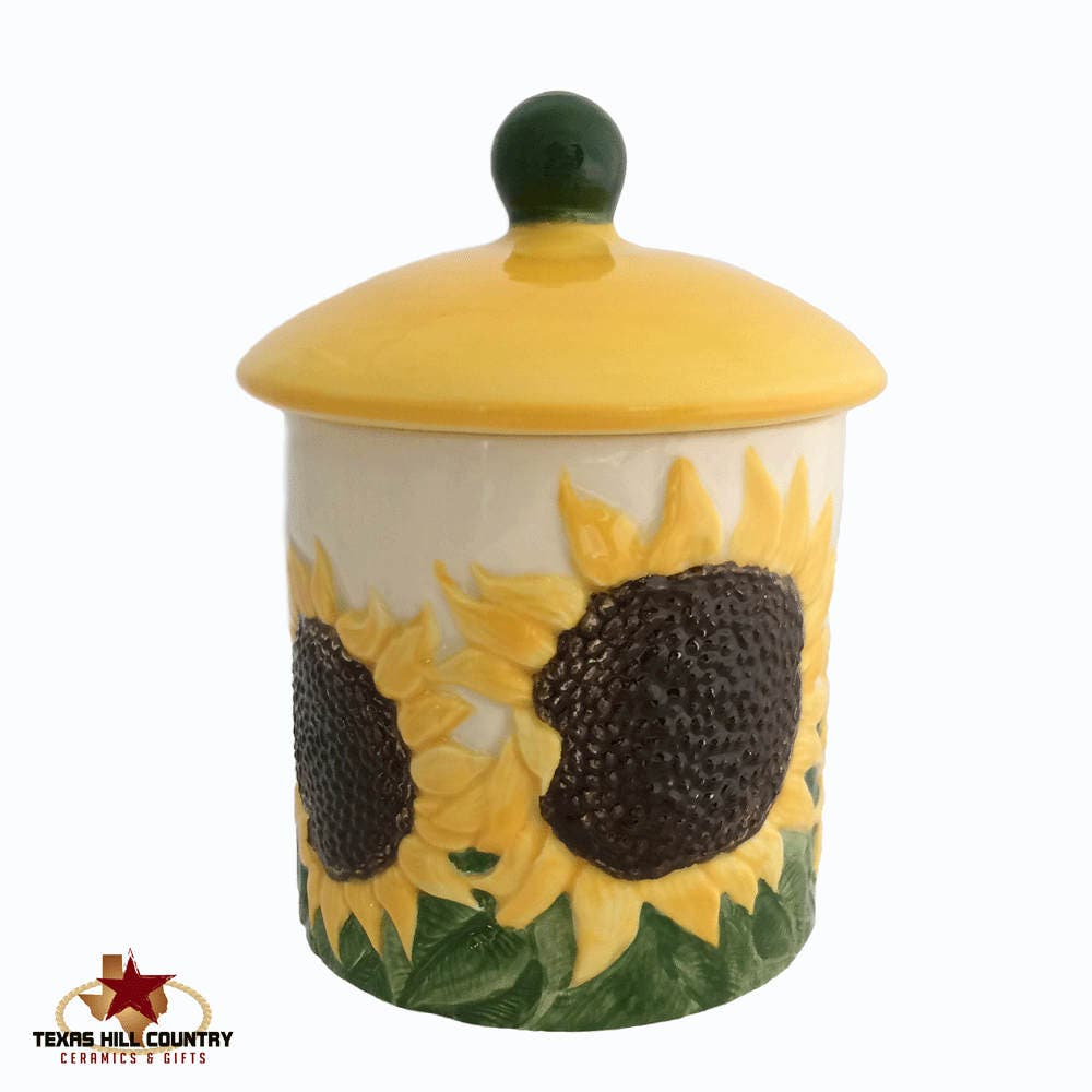 Yellow sugar bowls with lids - Ceramic Sunflower Container And Lid Country Sunflower Kitchen Ware Sugar Bowl Or Salt Canister Candy Holder Bath Vanity Container