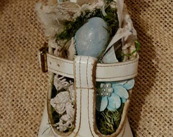 upcycled shabby cottage chic vintage baby shoe with nest locket bird old photo of mother and child assemblage