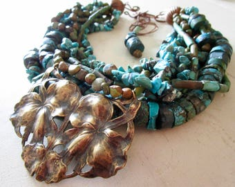 Turquoise & Copper Flower LUXE Belle Fleur Necklace - Multi Strand Necklace - Etsy Jewelry - catROCKS - Statement - Grace and Frankie
