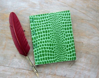 Softcover Journal or Sketchbook, Green Reptile, unlined green pages, Ready to Ship