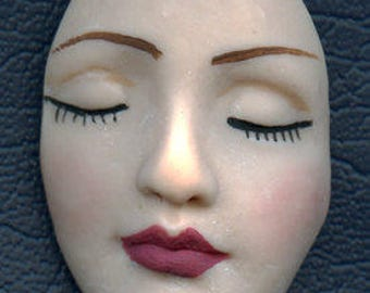 Polymer Clay Larger Fleshtone  Detailed Angel Face Cab Un Drilled NFC 3