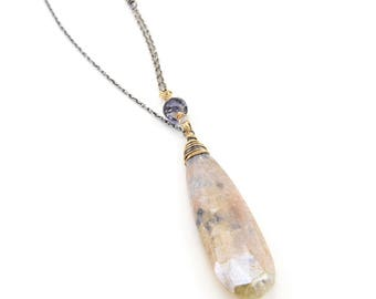 Greta Necklace- grapolite, iolite, sterling silver, gold fill.