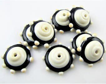 Ivory and Black Dotted Lampwork Glass Bead Caps