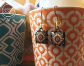 Islamic jewelry, Bohemian earrings, Islamic tile design, Moroccan tile dangle earrings, Tribal jewelry, Folk art