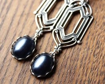 Silver Art Deco Earrings - Vintage Glass - Surgical Steel Leverback Earwires