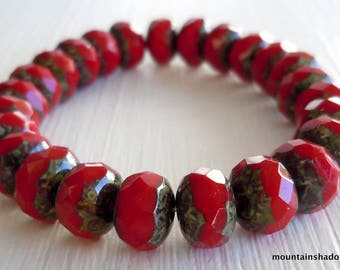 Picasso Beads, Gemstone Cut Donut, Opaque Red Czech Glass Rondelle, Rondelle, Fire Polished, Red beads - 6x8mm - 12 Beads