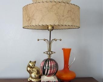 One Mid Century Lamp Ceramic Fiberglass Drum Shade 2 Tier Pink Black Metal Atomic One Single Table Lamp