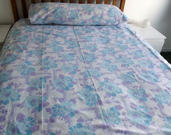 Vintage Double Bed Sheet - Blue and Purple Floral Pattern