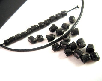 SALE, Matte Black Heishi, African Recycled Glass Beads, 3mm, 4mm, Black Tribal Beads, African Beads, Responsibly Sourced TT003