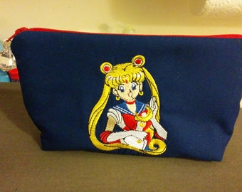 Sailor Moon Embroidered Zippered Blue Wallet Pouch Make Up Bag Pencil Case Anime Cosplay