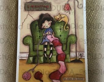 New!  STUDIO DUDA ART mini print/frameable greeting card  on velvety bright paper -Intense Knitting - 5x7 print