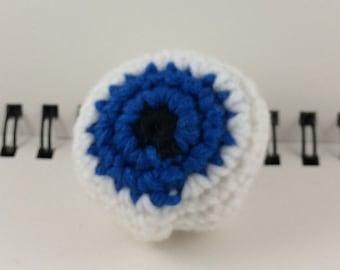 Crocheted Eyeball Hacky Sack - Bright Blue